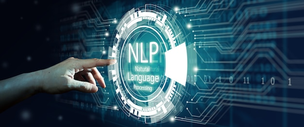 Nlp 자연어 처리 인지 컴퓨팅 기술을 만지는 사업가의 손