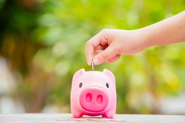돼지 저금통에 동전을 넣는 여성의 손:미래 개념을 위한 돈 절약