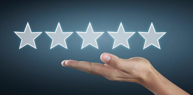 5つ星を増やすと感動の手が上がります。評価の評価と分類の概念を増やす