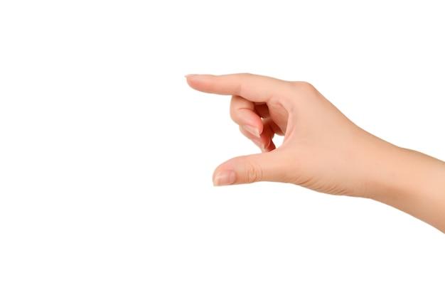 여자의 손을 잡고 뭔가 흰색 절연.