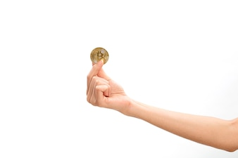 Hand Of Woman Holding Bitcoin