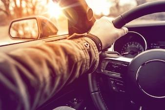 Hand on Wheel Car Driving