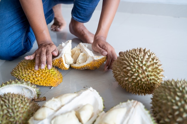 Hand opening durian fruit