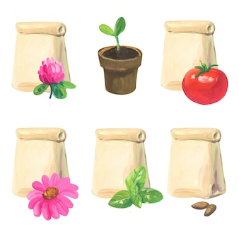 Hand painted acrylic or gouache package of seeds set on white