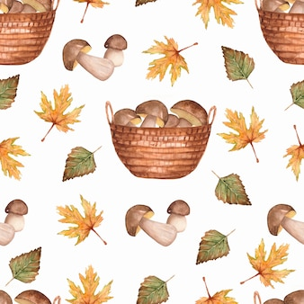 Hand painted autumn pattern of leaves and mushroom baskets