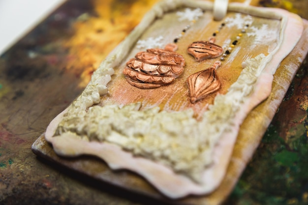 Hand painted christmas gingerbread on a beautiful wooden . close-up.