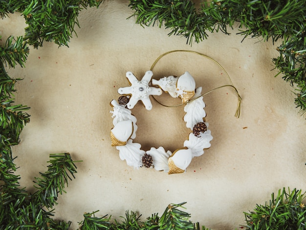 Hand painted christmas gingerbread wreath
