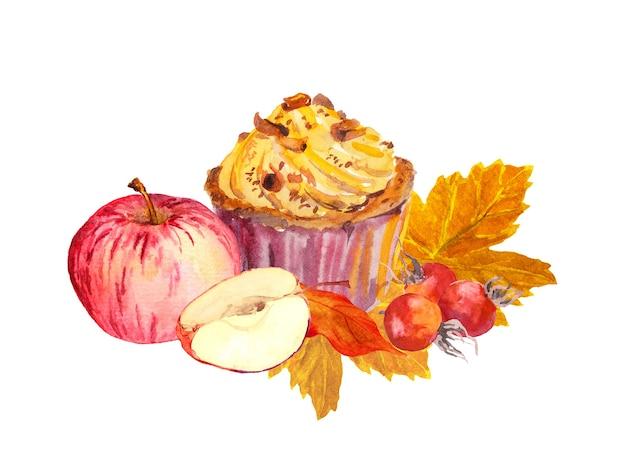 手描きの秋の紅葉、果実、りんごのカップケーキ。水彩