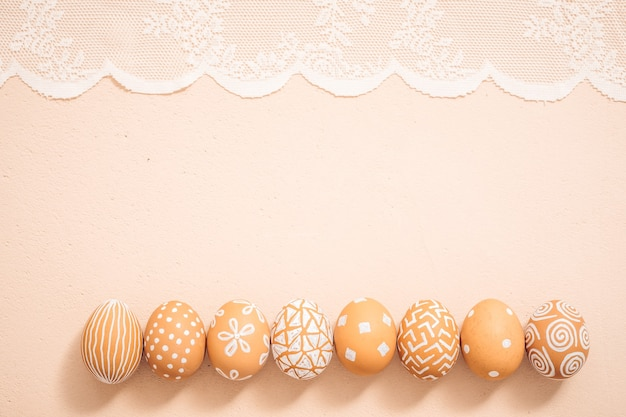 Hand painted easter eggs. texture background