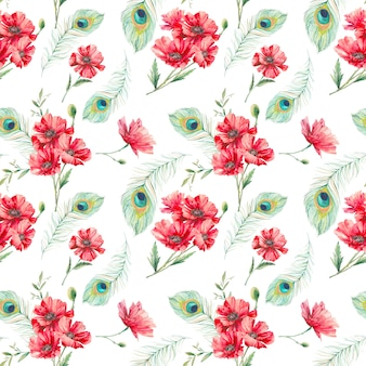 Hand painted exotic seamless pattern.
