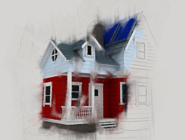 Hand painted house design