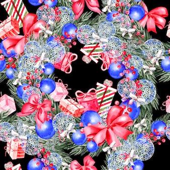 Ручная роспись счастливого рождества бесшовные модели с акварельной иллюстрацией рождественской елки