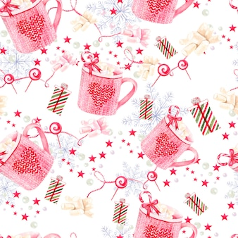 Hand painted merry christmas seamless pattern
