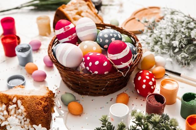 Ручная роспись пастельных тонов пасхальные яйца фон
