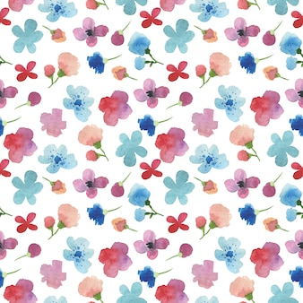 Hand painted seamless watercolor pattern with flowers and petals.