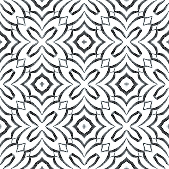 Hand painted tiled watercolor border. black and white shapely boho chic summer design. textile ready charming print, swimwear fabric, wallpaper, wrapping. tiled watercolor background.
