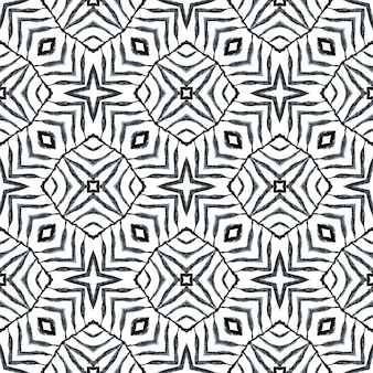 Hand painted tiled watercolor border. black and white stylish boho chic summer design. textile ready great print, swimwear fabric, wallpaper, wrapping. tiled watercolor background.