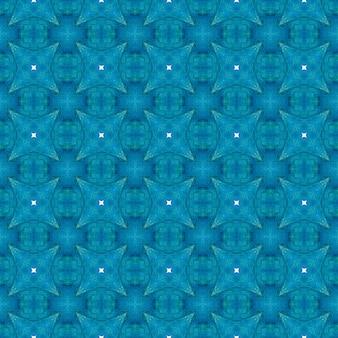 手描きのタイル張りの水彩画の境界線。ブルーの面白い自由奔放に生きるシックな夏のデザイン。テキスタイルレディの魅惑的なプリント、水着生地、壁紙、ラッピング。タイル張りの水彩画の背景。