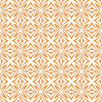 手描きのタイル張りの水彩画の境界線。オレンジフェア自由奔放に生きるシックな夏のデザイン。タイル張りの水彩画の背景。テキスタイル対応の好感の持てるプリント、水着生地、壁紙、ラッピング。