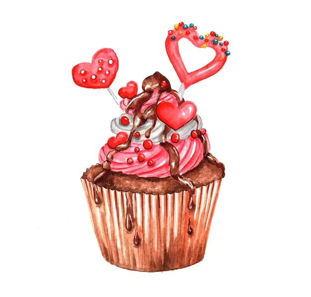 手描きの水彩画のカップケーキのイラスト。