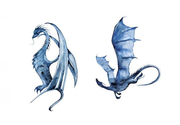 Hand painted watercolor dragons illustration