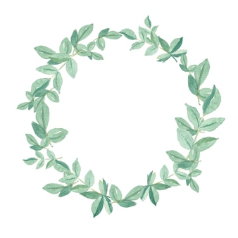Hand painted watercolor green leaves frame natural circle wreath