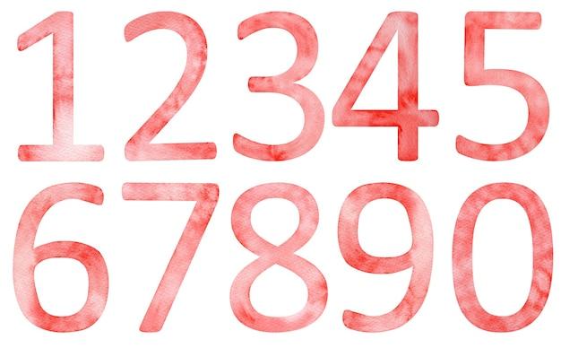 手描きの水彩画の赤い数字。ゼロを含む1から9までの赤い記号。
