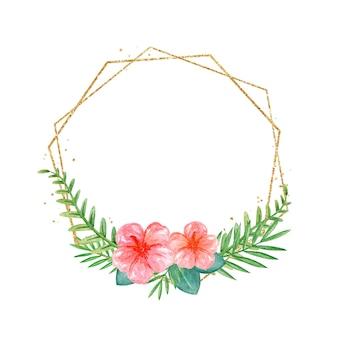 椰子の枝が付いている手描きの水彩画の花輪ハイビスカスの花が付いている熱帯の花輪金