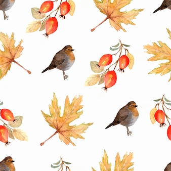 Hand painted winter pattern of birds and branches