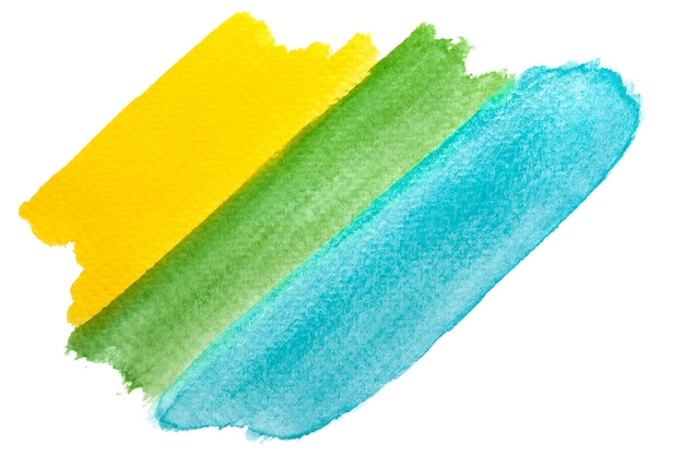 Hand-painted yellow, green and blue watercolor