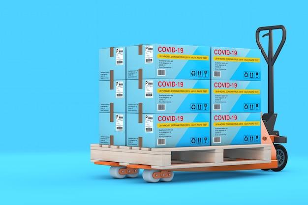 파란색 배경에 바이러스성 질병 신종 코로나바이러스 covid-19 2019 n-cov 판지 상자 패키지에 대한 신속한 테스트 장치 스택이 있는 핸드 팔레트 트럭. 3d 렌더링