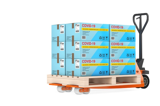 흰색 배경에 바이러스성 질병 신종 코로나바이러스 covid-19 2019 n-cov 판지 상자 패키지에 대한 신속한 테스트 장치 스택이 있는 핸드 팔레트 트럭. 3d 렌더링