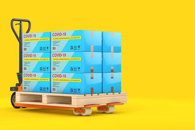 노란색 배경에 바이러스성 질병 신종 코로나바이러스 covid-19 2019 n-cov 판지 상자 패키지에 대한 신속한 테스트 장치 스택이 있는 핸드 팔레트 트럭. 3d 렌더링