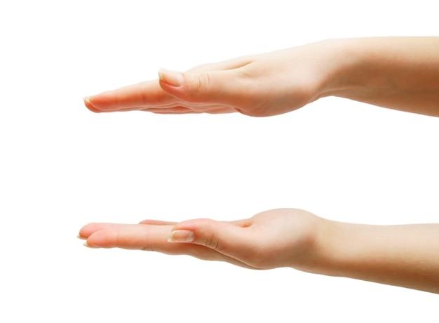 손, 손바닥. 흰색 테이블에. 외딴. 프리미엄 사진