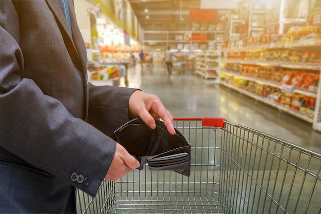 Hand of people show empty wallet in supermarket for shopping,economy concept