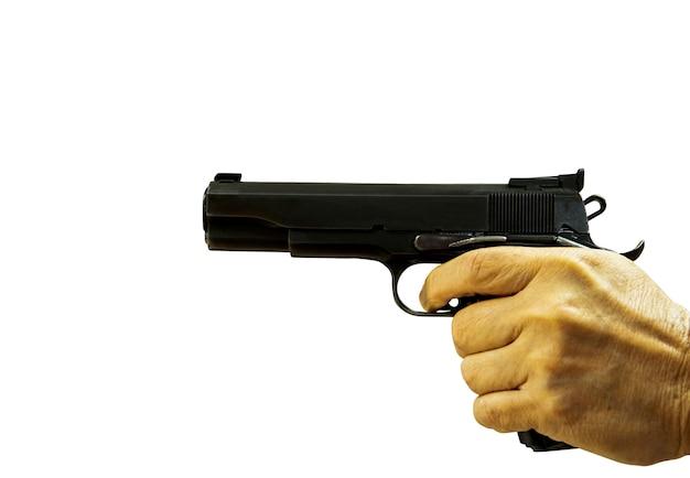 自動短い銃分離した白い背景を指している手