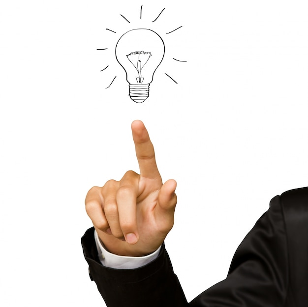 Hand pointing a bulb