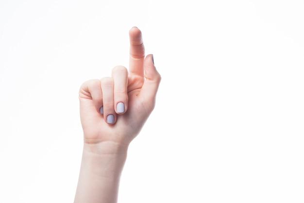 Hand pointing at camera