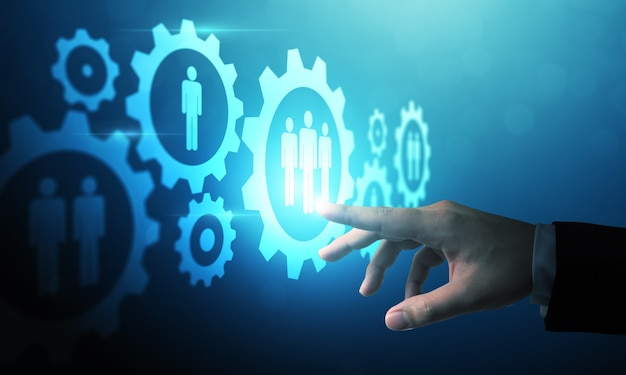 Hand pointing at digital technology design of human resources