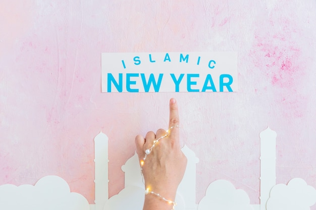 Hand pointing at islamic new year inscription
