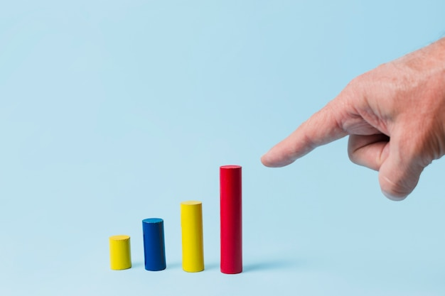 Hand pointing to statistic bars