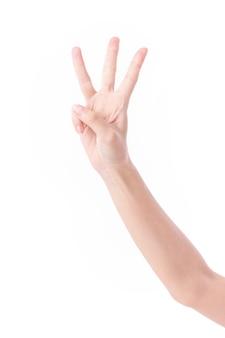 3本の指を上に向ける手