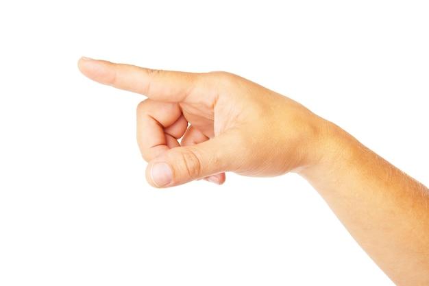 흰색 배경에 고립 된 손 poiting 기호