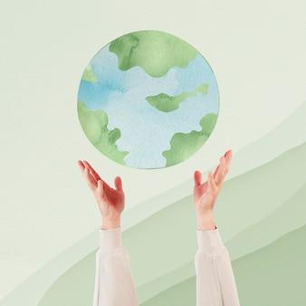 Рука представляет ремикс об устойчивой окружающей среде на земле