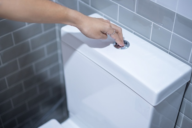 Hand press and flush toilet. cleaning, lifestyle and personal hygiene concept