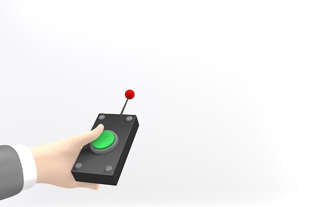 Рука, нажимающая на удаленную кнопку. 3d рендеринг