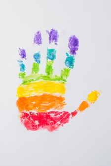 Hand print in bright lgbt colors