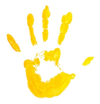 Hand print painting isolated on white