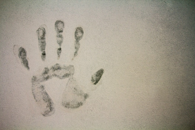 Hand print stamp on texture background