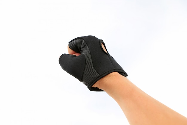 Hand punching wearing sport glove isolated on white background